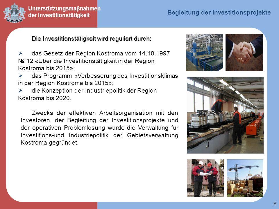 Begleitung der Investitionsprojekte