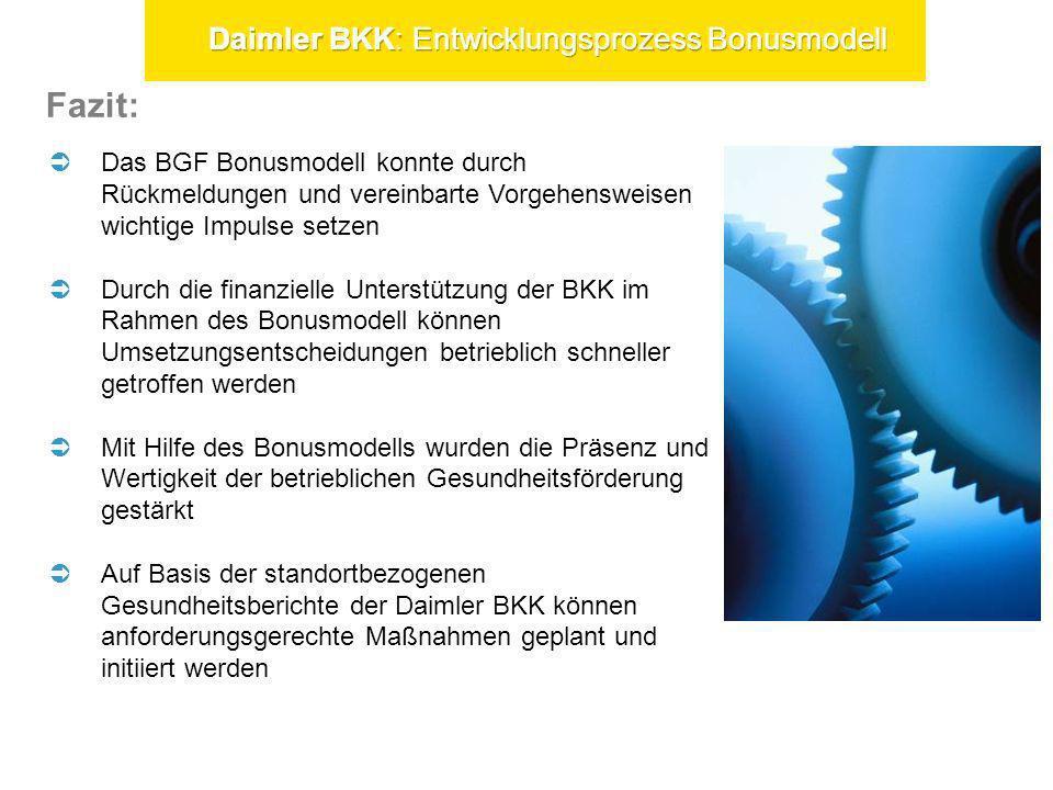 Fazit: Daimler BKK: Entwicklungsprozess Bonusmodell