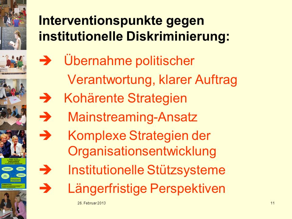 Interventionspunkte gegen institutionelle Diskriminierung: