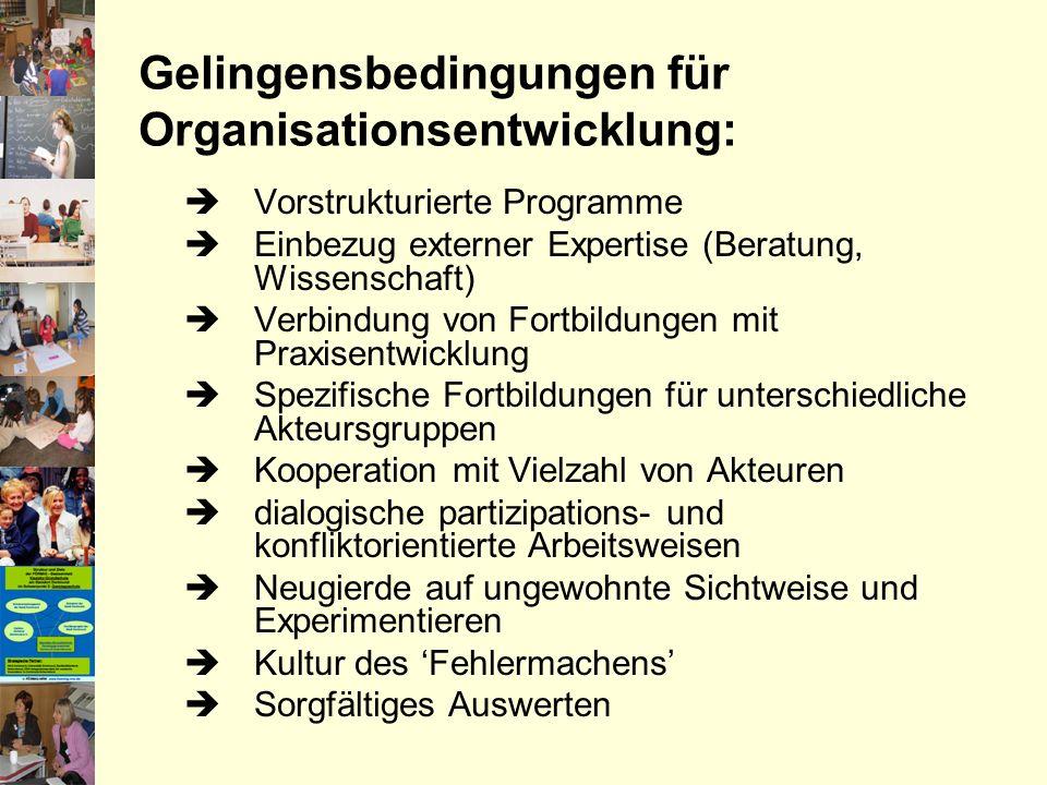 Gelingensbedingungen für Organisationsentwicklung: