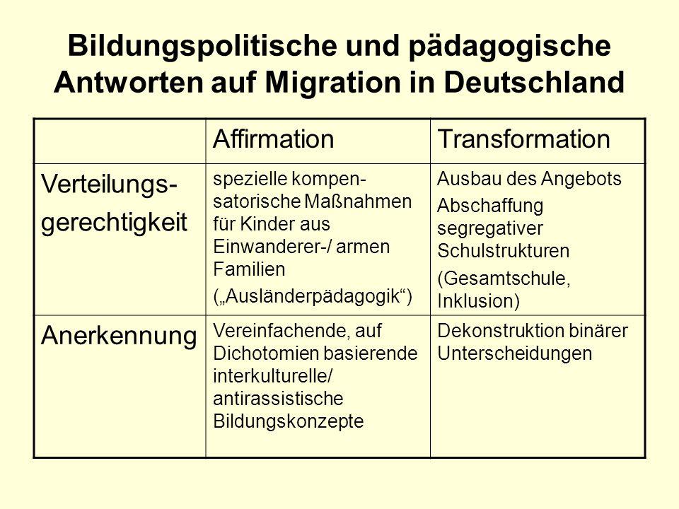 Bildungspolitische und pädagogische Antworten auf Migration in Deutschland