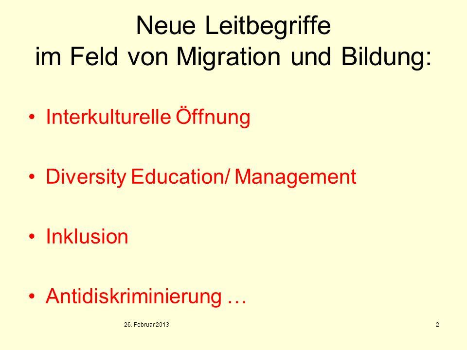 Neue Leitbegriffe im Feld von Migration und Bildung:
