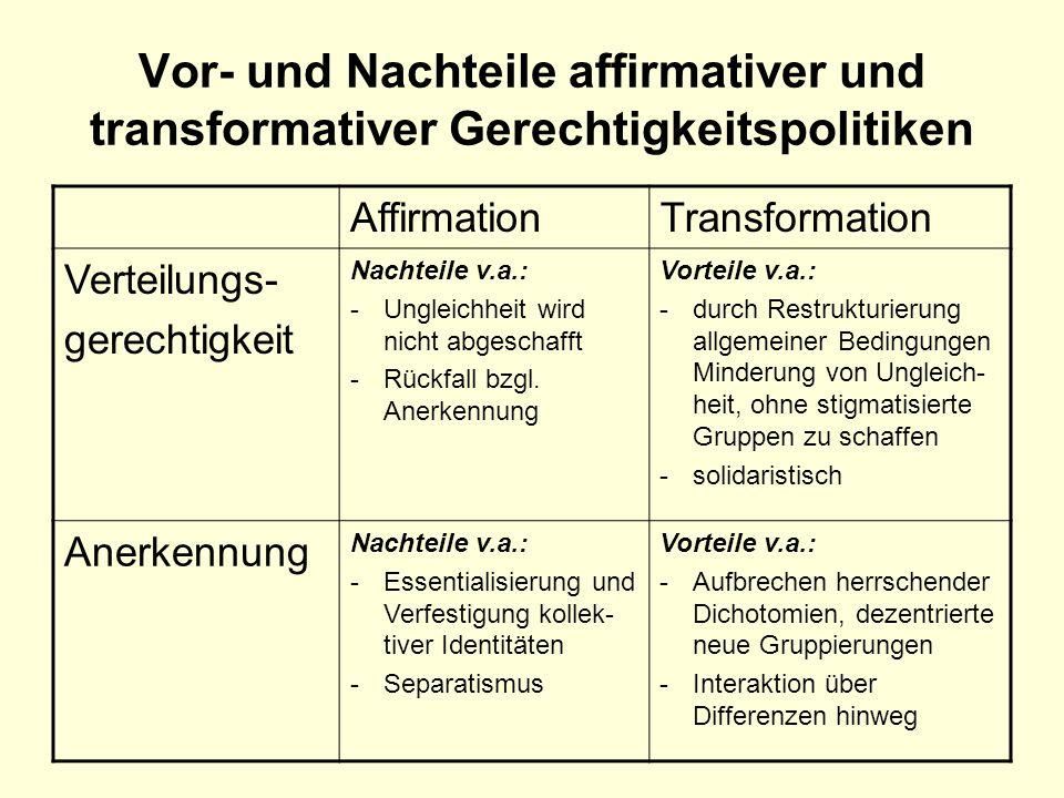 Vor- und Nachteile affirmativer und transformativer Gerechtigkeitspolitiken
