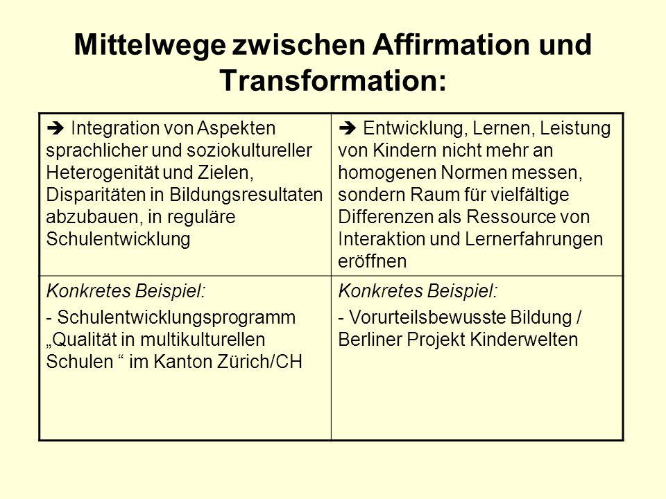 Mittelwege zwischen Affirmation und Transformation: