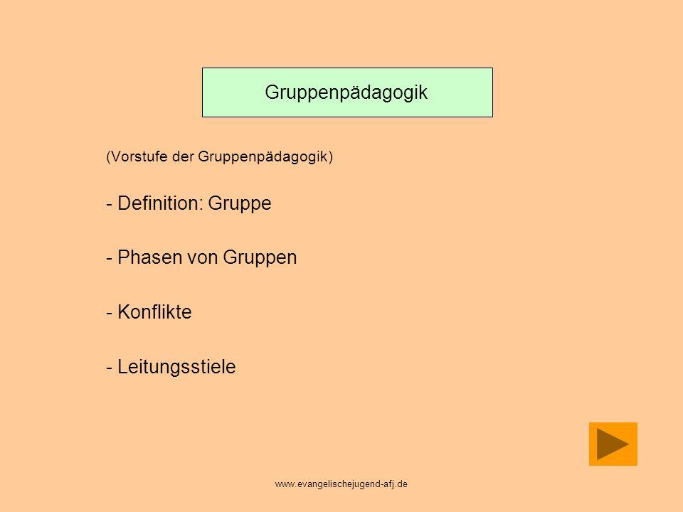 Gruppenpädagogik Definition: Gruppe Phasen von Gruppen Konflikte