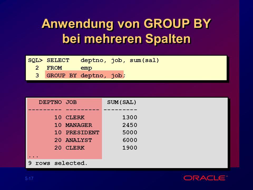 Anwendung von GROUP BY bei mehreren Spalten