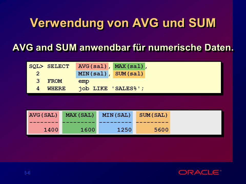 Verwendung von AVG und SUM