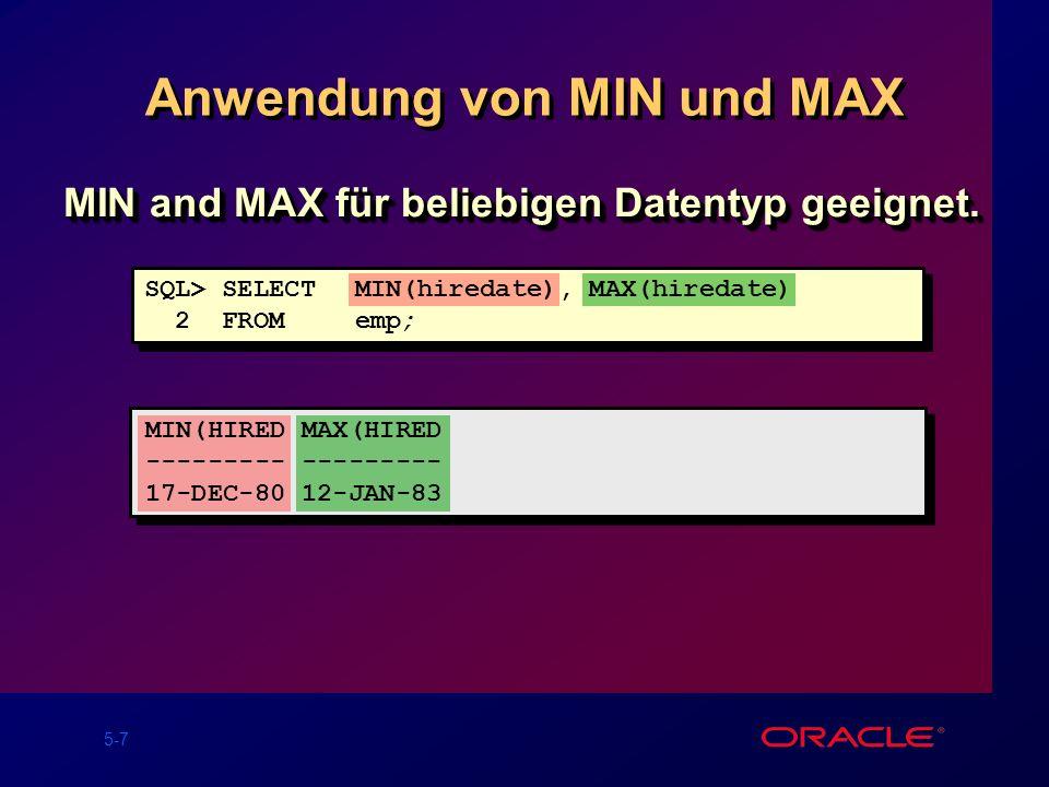 Anwendung von MIN und MAX