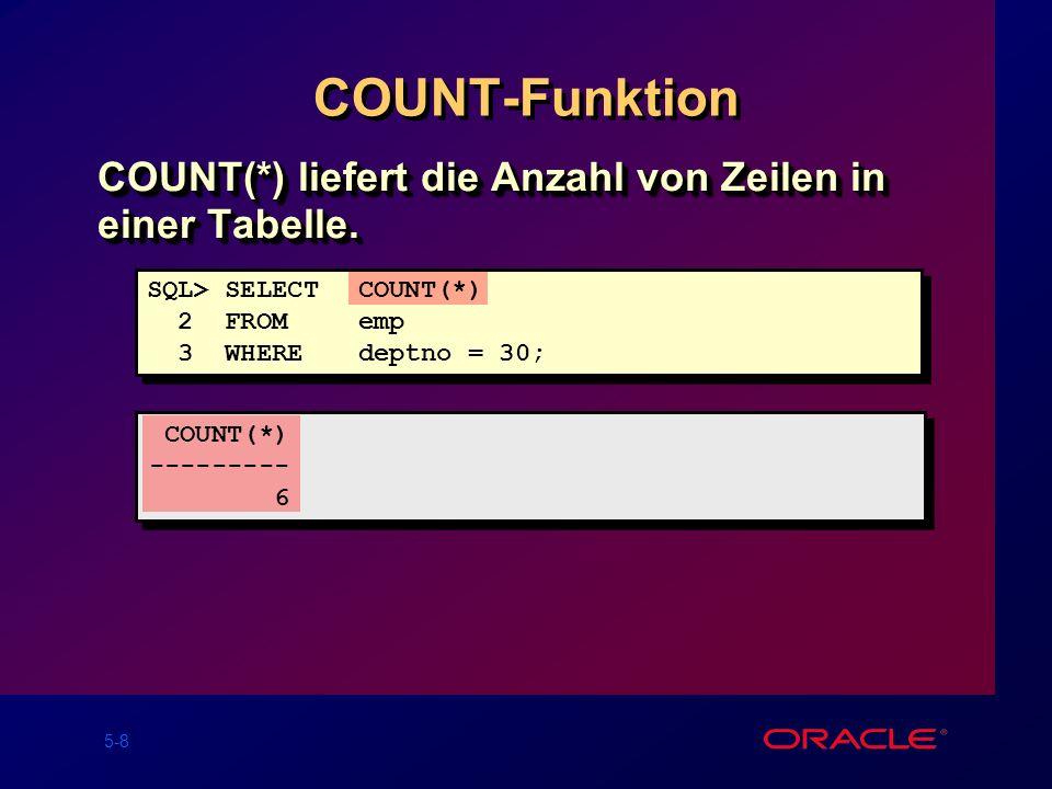 COUNT-Funktion COUNT(*) liefert die Anzahl von Zeilen in einer Tabelle. SQL> SELECT COUNT(*) 2 FROM emp.