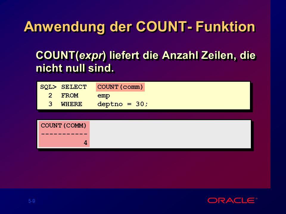 Anwendung der COUNT- Funktion