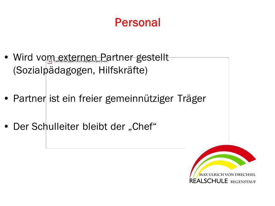 Personal Wird vom externen Partner gestellt (Sozialpädagogen, Hilfskräfte) Partner ist ein freier gemeinnütziger Träger.
