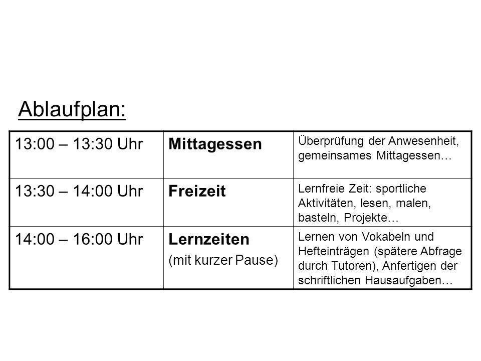 Ablaufplan: 13:00 – 13:30 Uhr Mittagessen 13:30 – 14:00 Uhr Freizeit