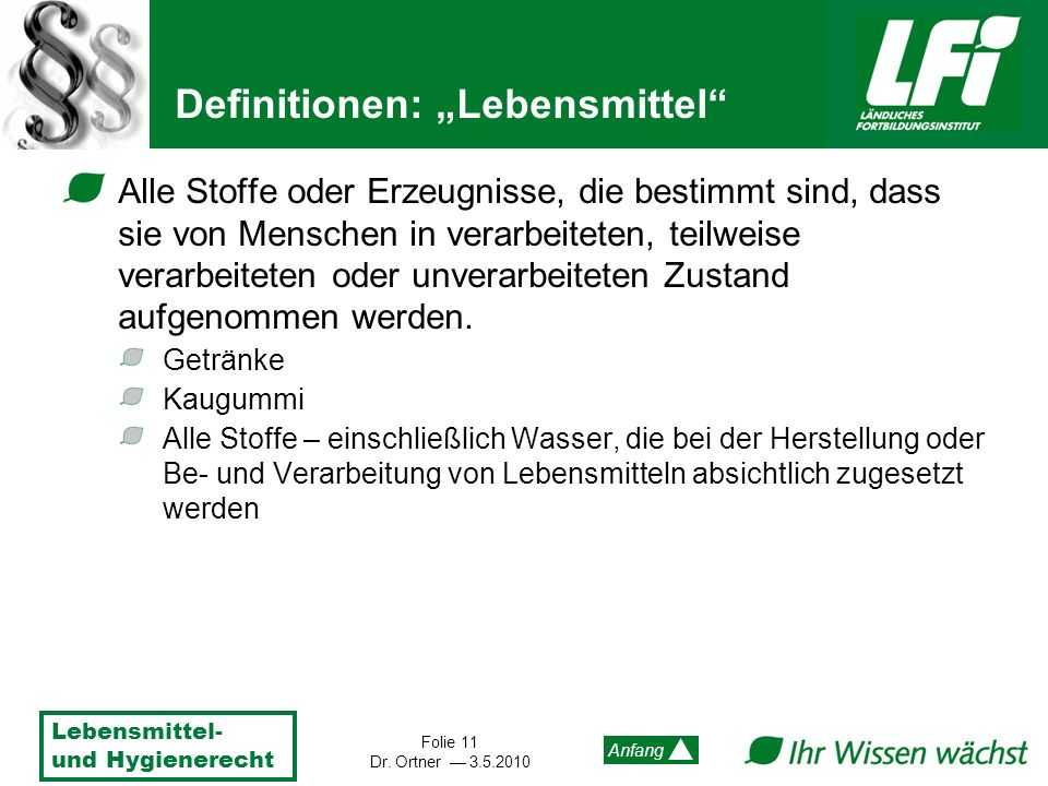 "Definitionen: ""Lebensmittel"