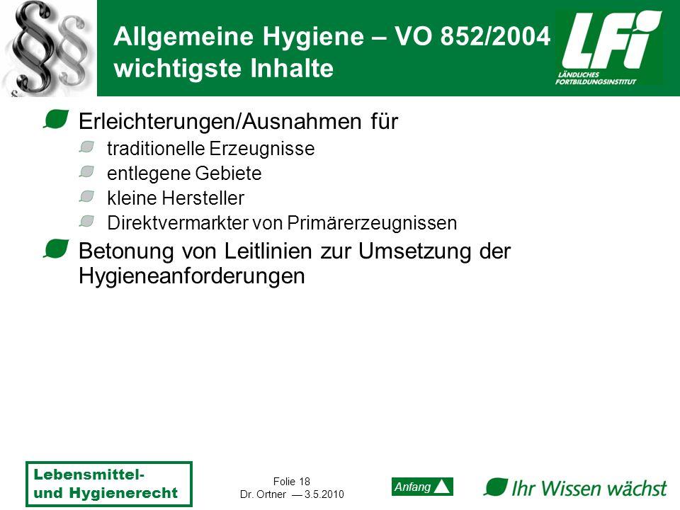 Allgemeine Hygiene – VO 852/2004 wichtigste Inhalte
