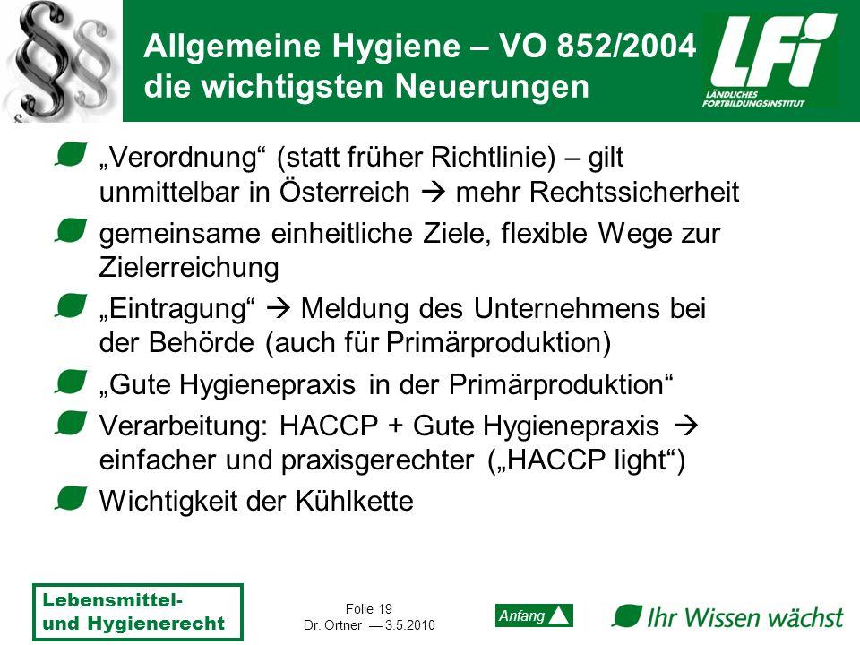 Allgemeine Hygiene – VO 852/2004 die wichtigsten Neuerungen