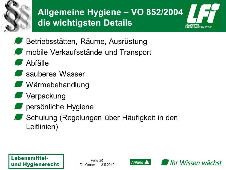 Allgemeine Hygiene – VO 852/2004 die wichtigsten Details
