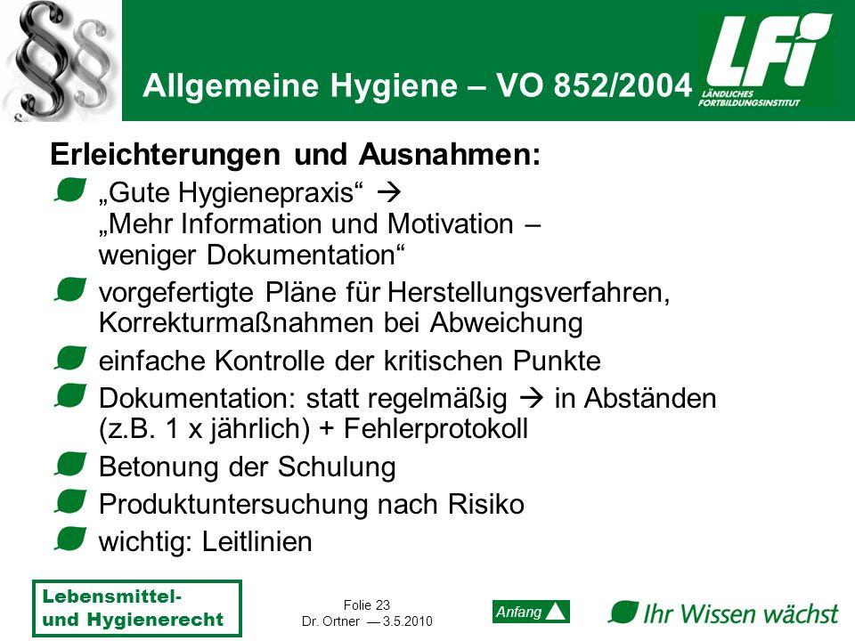 Allgemeine Hygiene – VO 852/2004