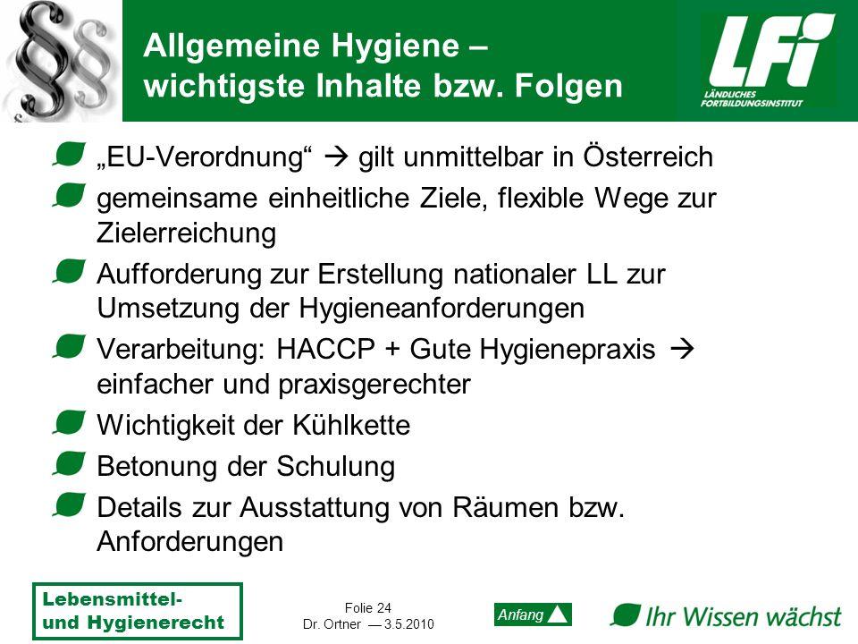 Allgemeine Hygiene – wichtigste Inhalte bzw. Folgen