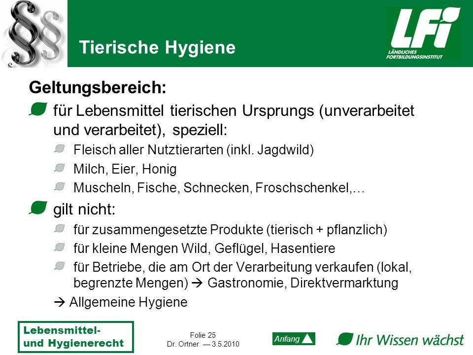 Tierische Hygiene Geltungsbereich: