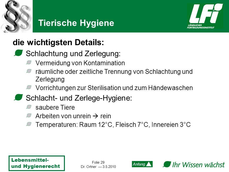 Tierische Hygiene die wichtigsten Details: Schlachtung und Zerlegung:
