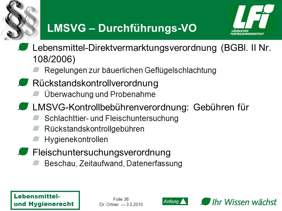 LMSVG – Durchführungs-VO
