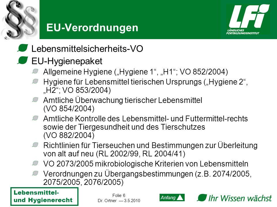 EU-Verordnungen Lebensmittelsicherheits-VO EU-Hygienepaket