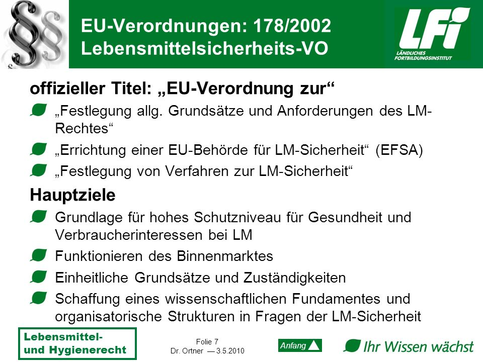 EU-Verordnungen: 178/2002 Lebensmittelsicherheits-VO