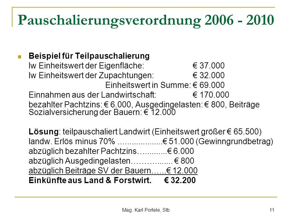 Pauschalierungsverordnung 2006 - 2010