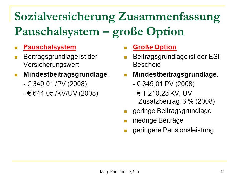 Sozialversicherung Zusammenfassung Pauschalsystem – große Option