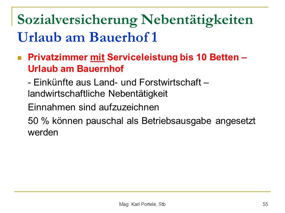 Sozialversicherung Nebentätigkeiten Urlaub am Bauerhof 1