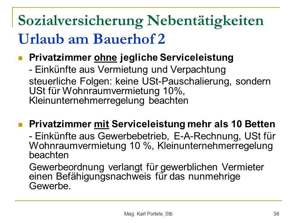 Sozialversicherung Nebentätigkeiten Urlaub am Bauerhof 2