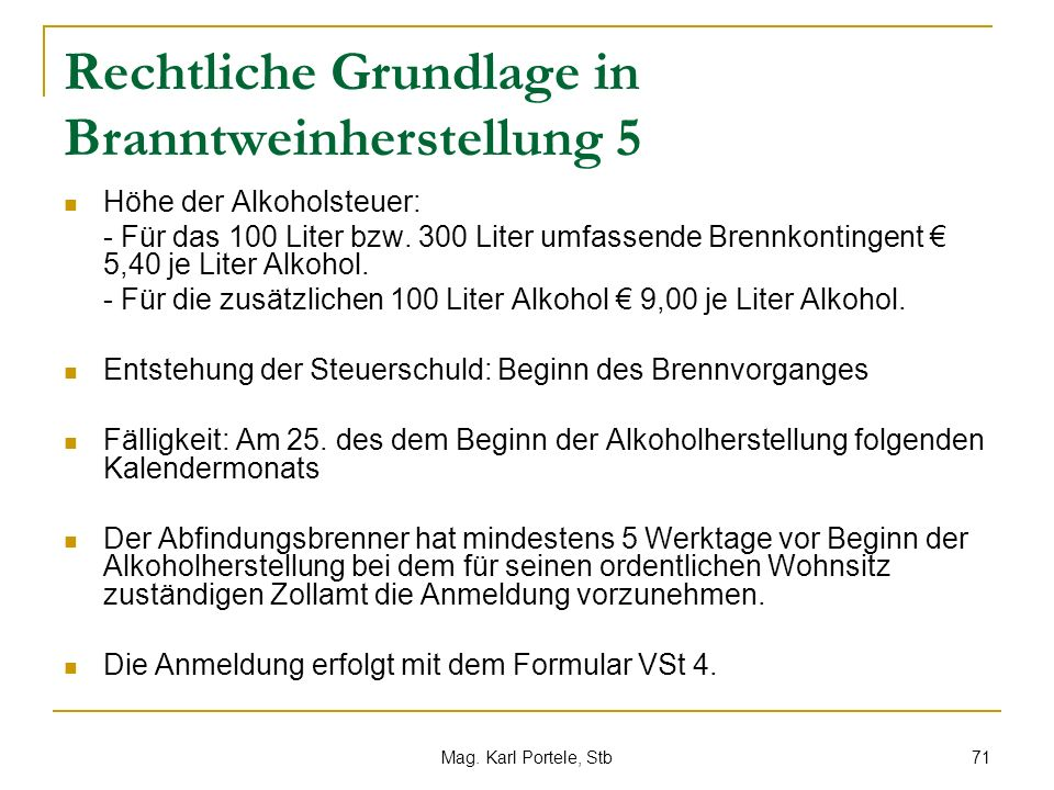Rechtliche Grundlage in Branntweinherstellung 5