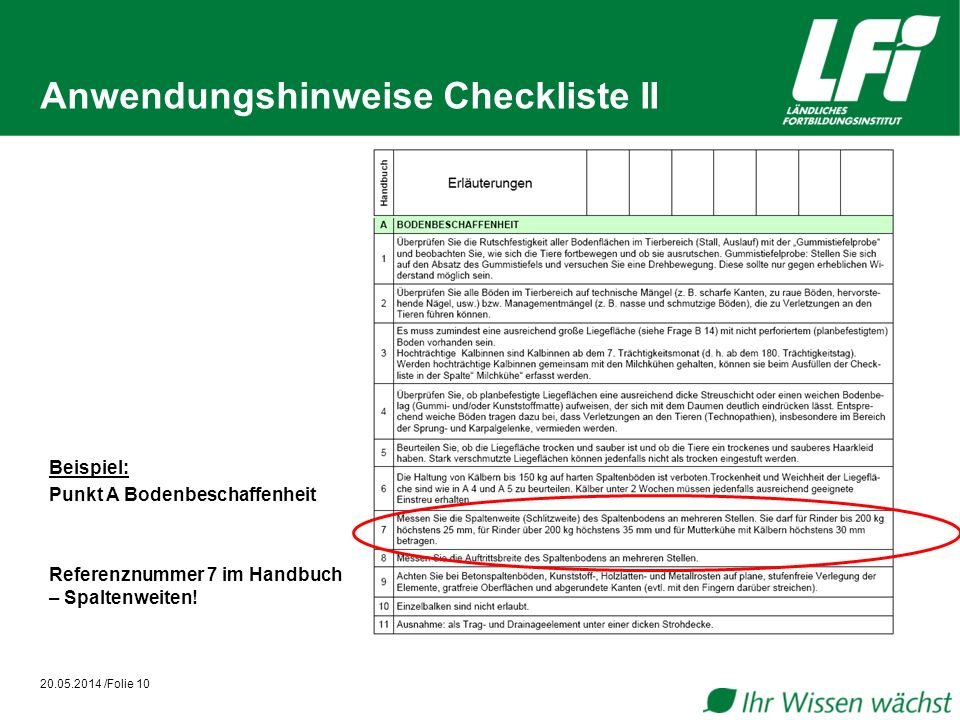 Anwendungshinweise Checkliste II