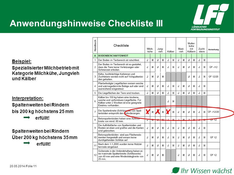 Anwendungshinweise Checkliste III