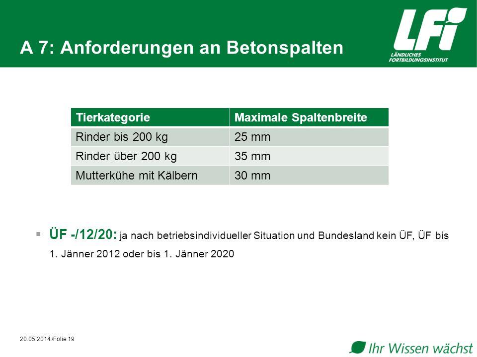 A 7: Anforderungen an Betonspalten
