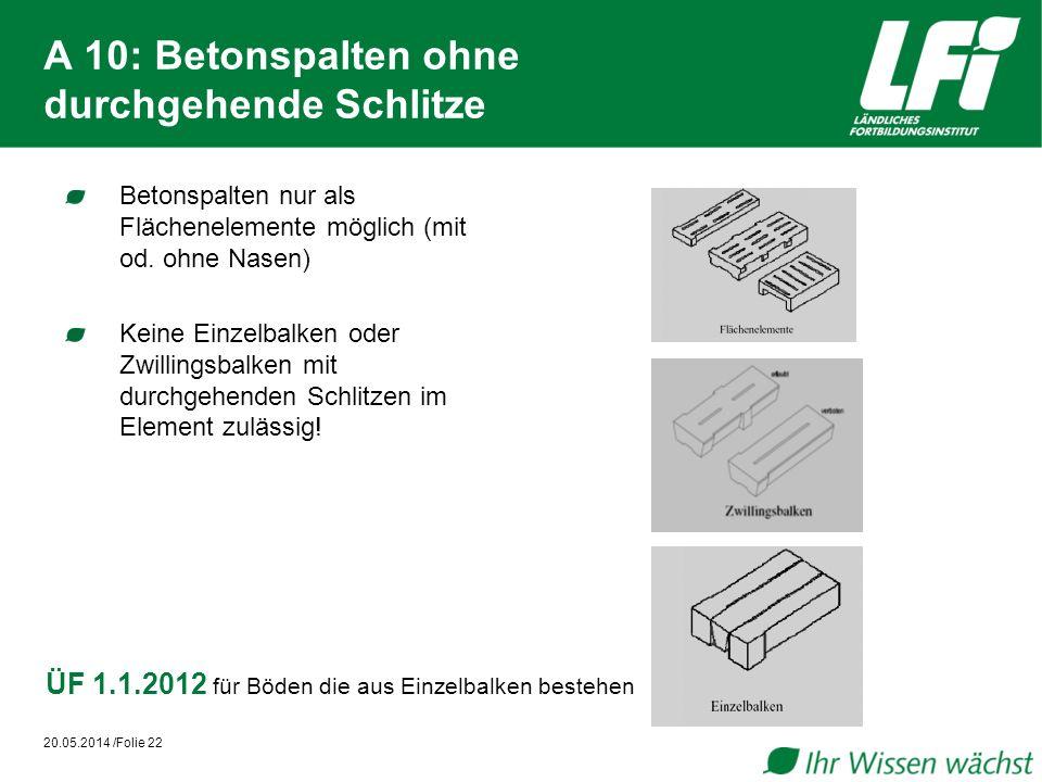 A 10: Betonspalten ohne durchgehende Schlitze