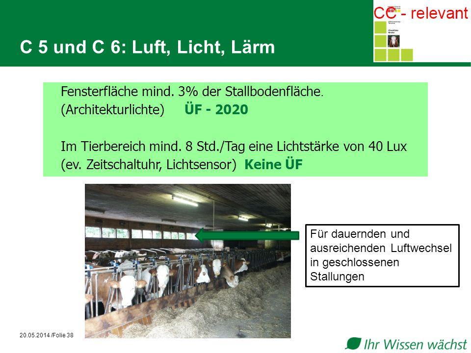 C 5 und C 6: Luft, Licht, Lärm Fensterfläche mind. 3% der Stallbodenfläche. (Architekturlichte) ÜF - 2020.