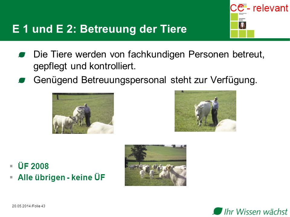 E 1 und E 2: Betreuung der Tiere
