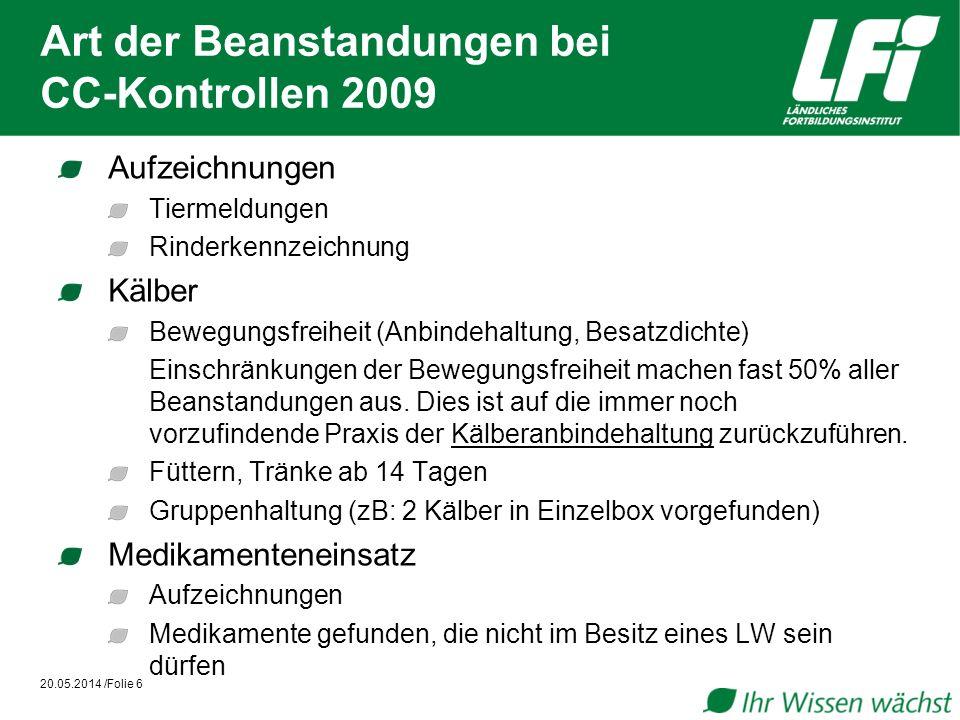 Art der Beanstandungen bei CC-Kontrollen 2009