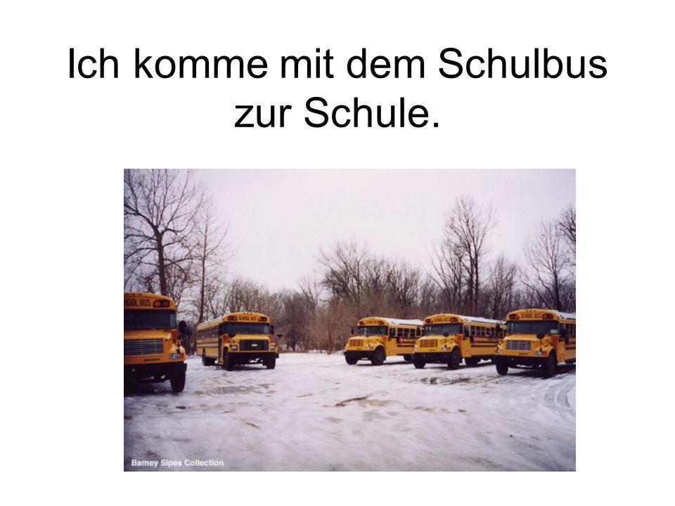 Ich komme mit dem Schulbus zur Schule.