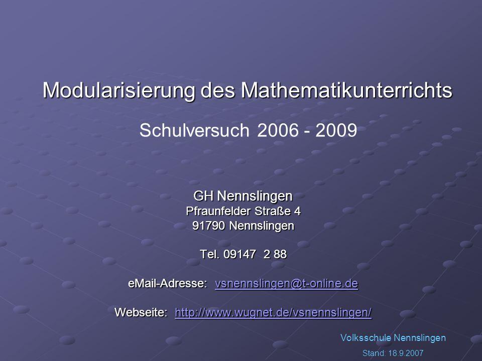 Modularisierung des Mathematikunterrichts