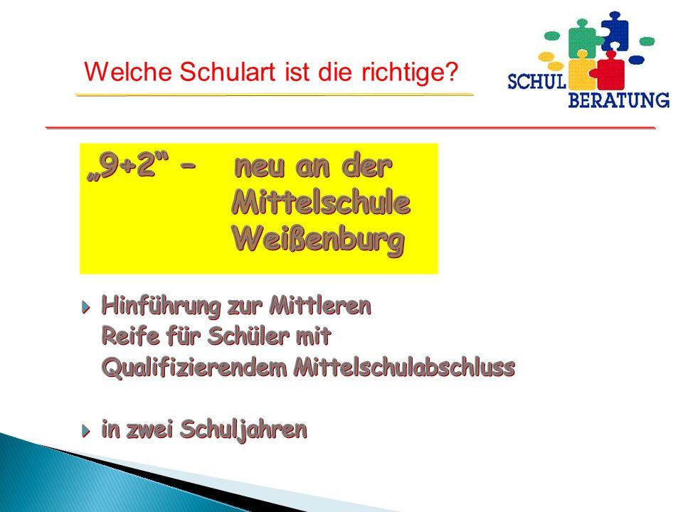 """""""9+2 – neu an der Mittelschule Weißenburg Hinführung zur Mittleren"""