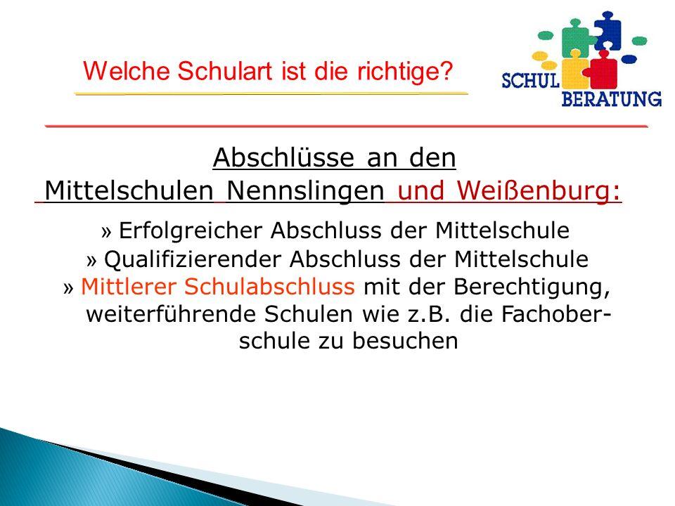 Abschlüsse an den Mittelschulen Nennslingen und Weißenburg: » Erfolgreicher Abschluss der Mittelschule » Qualifizierender Abschluss der Mittelschule » Mittlerer Schulabschluss mit der Berechtigung, weiterführende Schulen wie z.B.