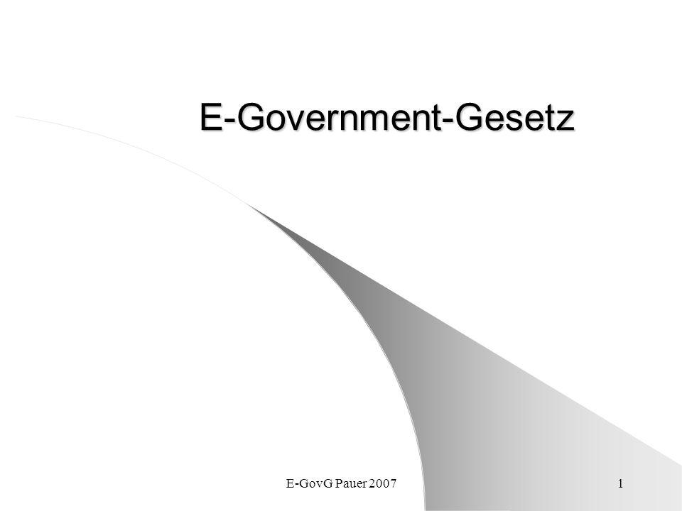 E-Government-Gesetz E-GovG Pauer 2007