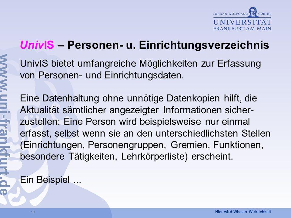 UnivIS – Personen- u. Einrichtungsverzeichnis