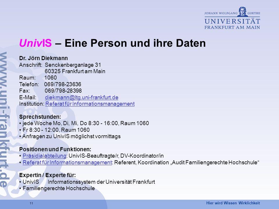 UnivIS – Eine Person und ihre Daten