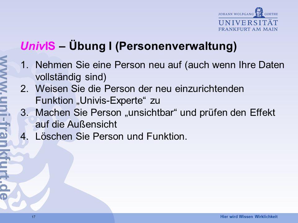 UnivIS – Übung I (Personenverwaltung)