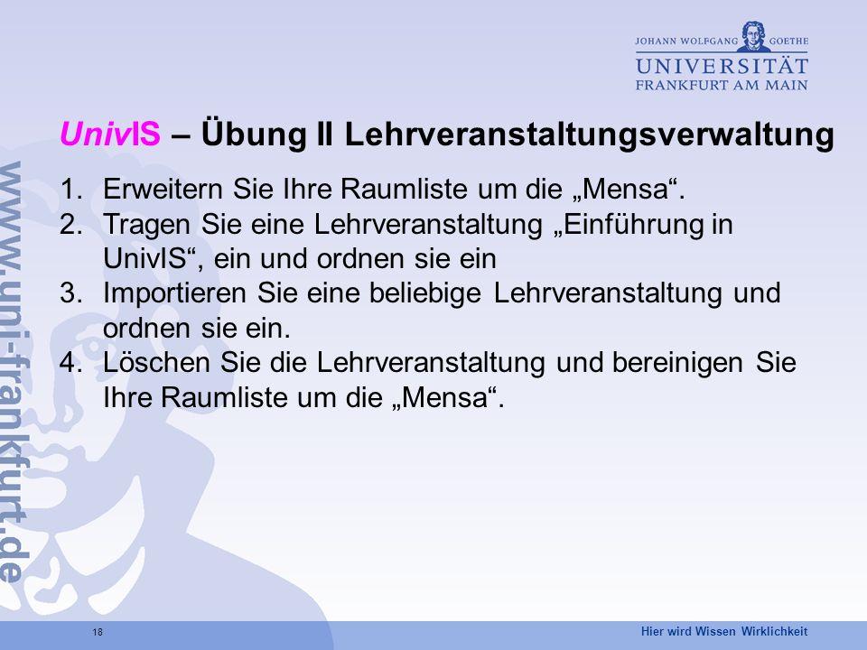 UnivIS – Übung II Lehrveranstaltungsverwaltung