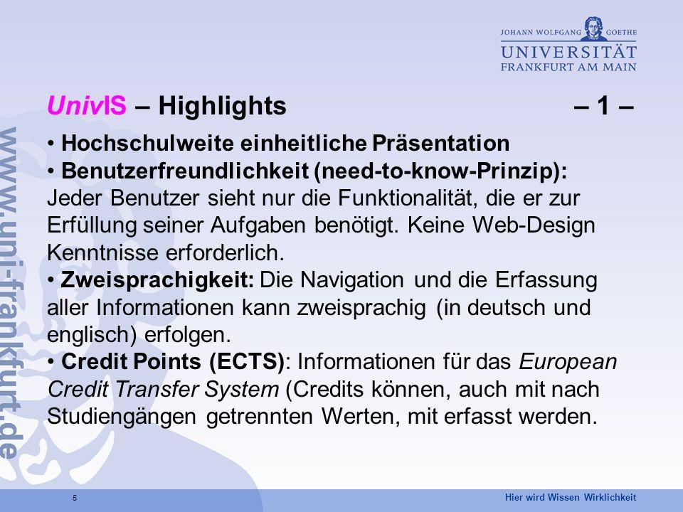UnivIS – Highlights – 1 – Hochschulweite einheitliche Präsentation