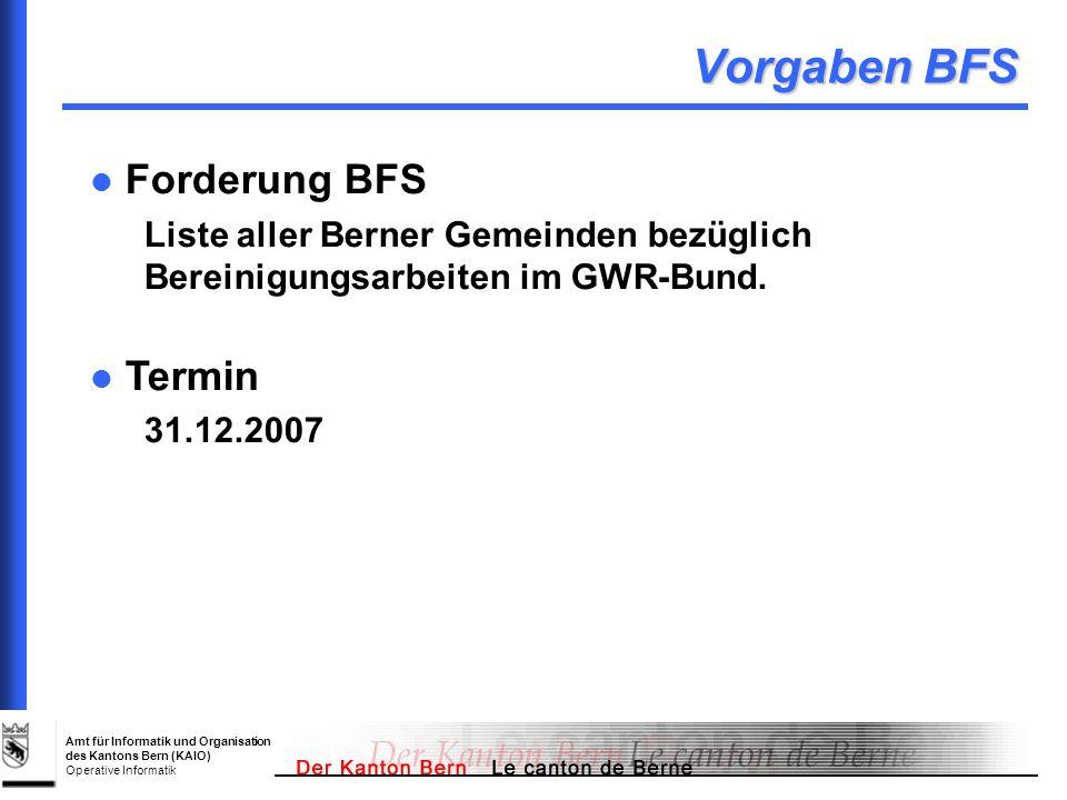 Vorgaben BFS Forderung BFS Termin